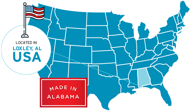 Blue map of the the USA pointing to Alabama. Text reads